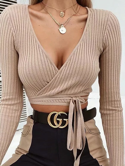 344493f4b9cea Khaki Ribbed V-neck Tie Detail Long Sleeve Chic Women Crop Top