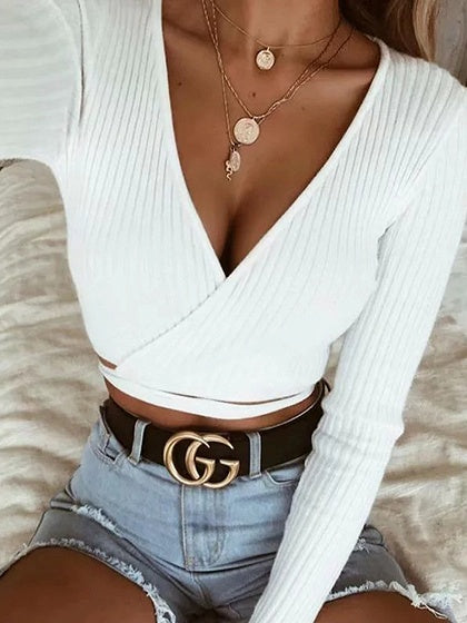 2c42b2dfbf21d White Ribbed V-neck Tie Detail Long Sleeve Chic Women Crop Top – MYNYstyle