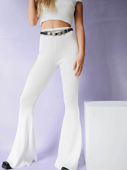 White Ribbed High Waist Chic Women Bootcut Pants