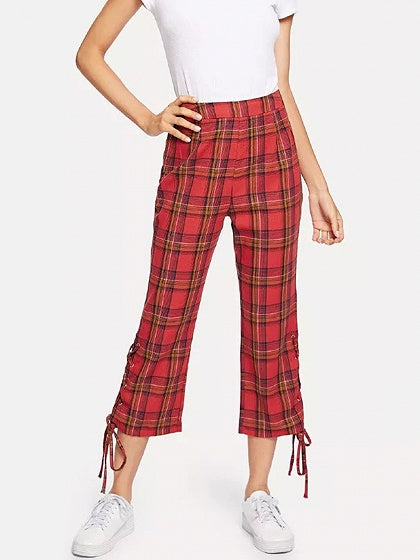 Red Plaid Cotton High Waist Eyelet Lace Up Side Chic Women Pants