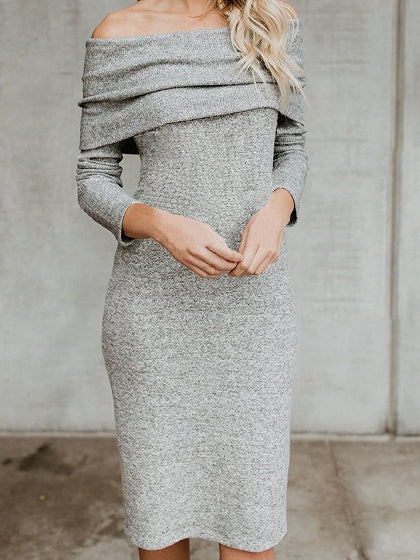 Gray Cotton Off Shoulder Long Sleeve Chic Women Bodycon Dress
