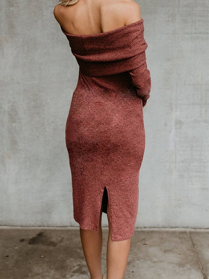 Orange Cotton Off Shoulder Long Sleeve Chic Women Bodycon Dress