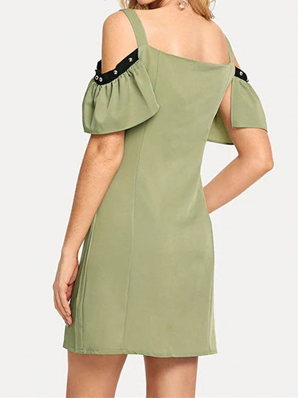 Green Cold Shoulder Button Placket Front Chic Women Cami Mini Dress