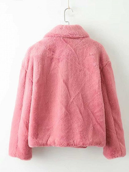 cd522546872 Pink Lapel Long Sleeve Chic Women Faux Fur Fluffy Coat – MYNYstyle