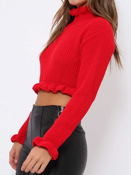 Red High Neck Ruffle Trim Long Sleeve Chic Women Knit Crop Top