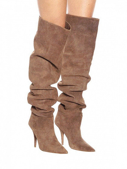 Khaki Faux Suede Pointed Toe High Heeled Over The Knee Boots