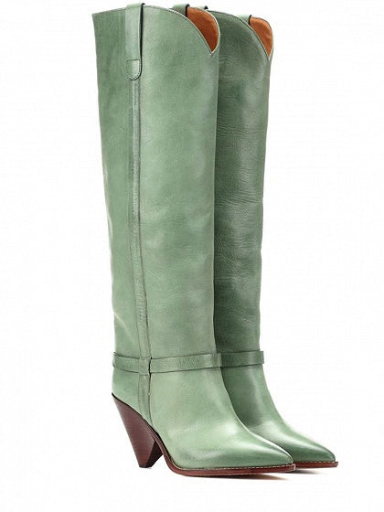 Green Leather Pointed Heeled Over the Knee Boots