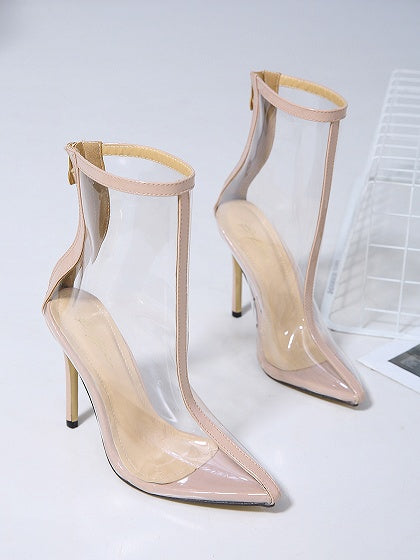 Beige Pointed Toe Transparent High Heeled Ankle Boots