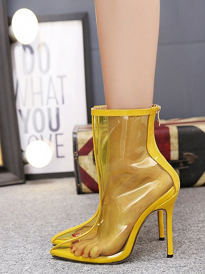 Yellow Pointed Toe Transparent High Heeled Ankle Boots