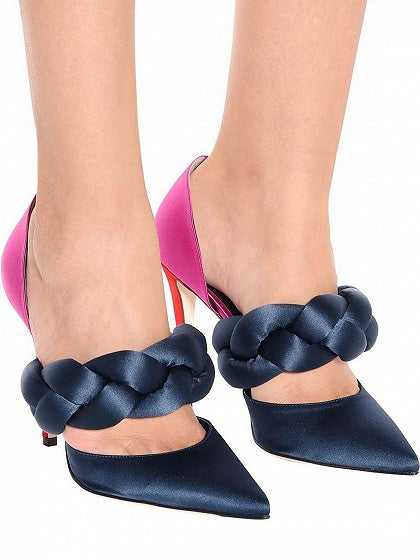 Pink Contrast Twist Strap Pointed Toe High Heeled Pumps