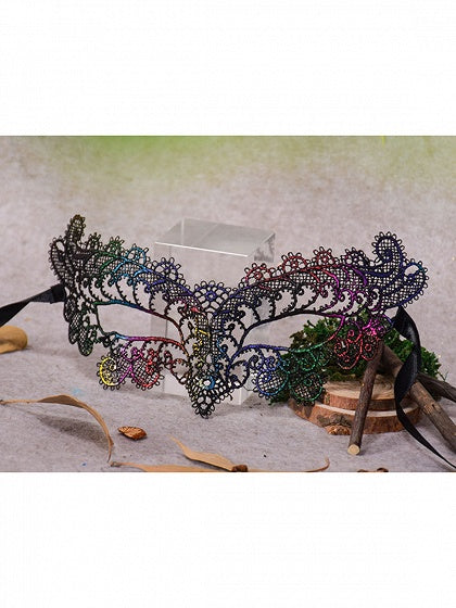 Polychrome Cut Out Detail Halloween Lace Eye Mask