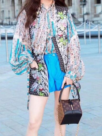 Blue Chiffon Floral Print Stripe Panel Tie Front Puff Sleeve Blouse
