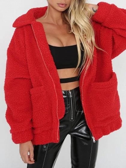 Red Lapel Pocket Detail Long Sleeve Faux Shearling Fluffy Coat