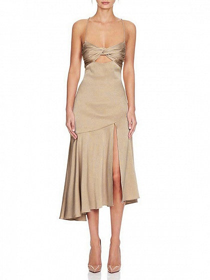 Khaki Satin Look V-neck Knot Front Thigh Split Cami Midi Dress