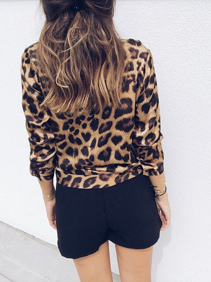 efcae66a5799 Brown Plunge Leopard Print Long Sleeve Blouse – MYNYstyle