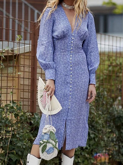 Purple Chiffon V-neck Floral Print Puff Sleeve Midi Dress