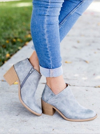 Gray Zip Side Fastening Pointed Toe PU Ankle Boots