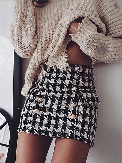 f5293a9c9 Black Cotton Houndstooth Print High Waist Mini Skirt