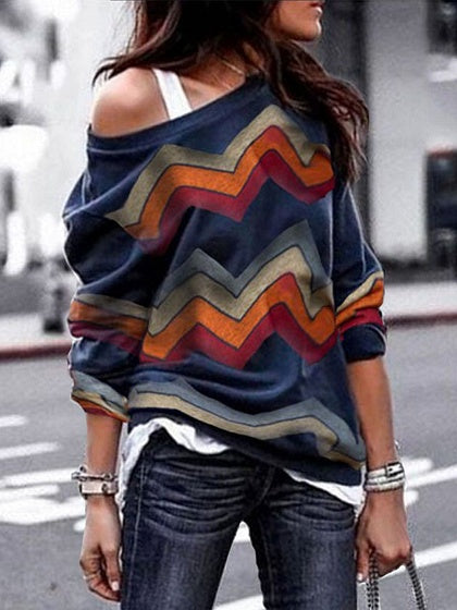 Multicolor Chevron Print Long Sleeve Chic Women Sweatshirt
