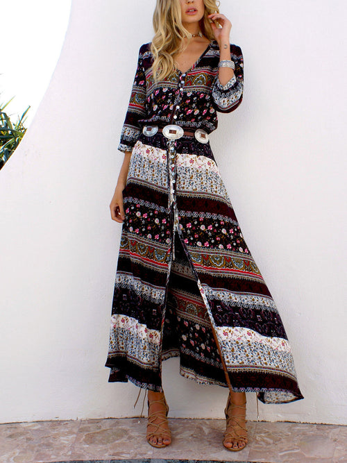 Brown Tribal Print Split Maxi Dress
