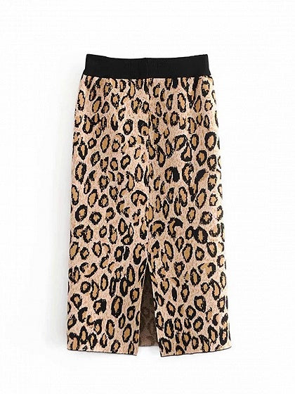 Khaki Leopard Print High Waist Split Back Women Knit Midi Skirt
