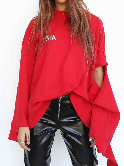 Red Cotton Blend Letter Print Long Sleeve Women Sweatshirt