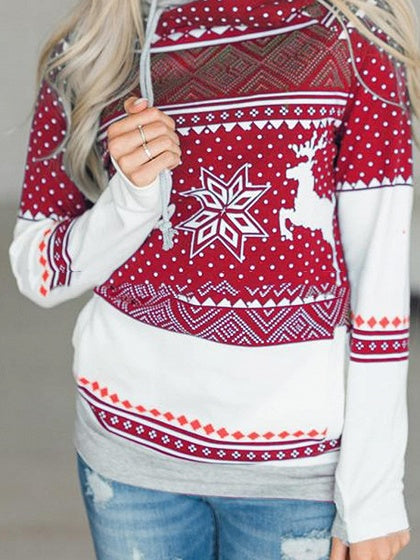 Red Print Detail Long Sleeve Christmas Women Hoodie