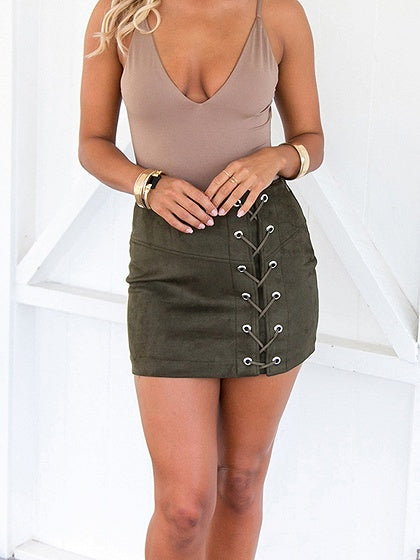 21d77aa85 Dark Green Cotton Blend High Waist Eyelet Lace Up Front Mini Skirt