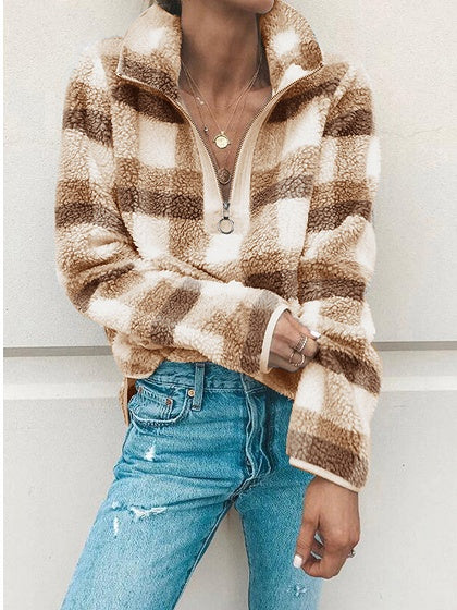 Beige Plaid Lapel Zip Front Long Sleeve Women Sweatshirt