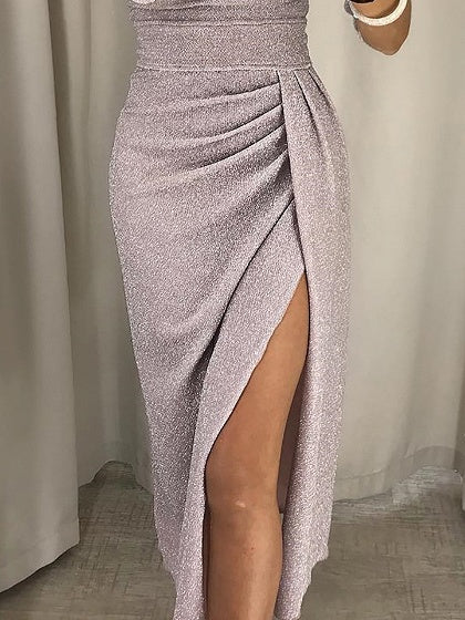 Beige Off Shoulder Thigh Split Side Long Sleeve Sparkling Midi Dress