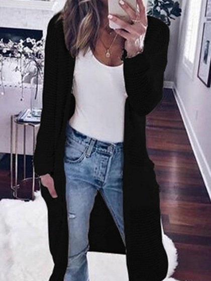 Black Open Front Long Sleeve Knit Longline Cardigan