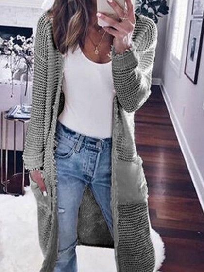 Gray Open Front Long Sleeve Knit Longline Cardigan