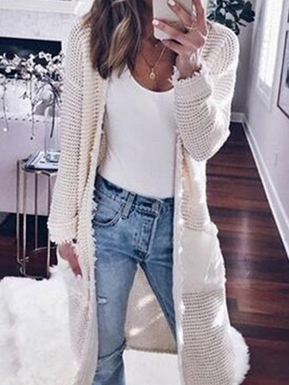 White Open Front Long Sleeve Knit Longline Cardigan