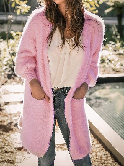 Pink Open Front Long Sleeve Women Fluffy Cardigan