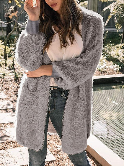 Gray Open Front Long Sleeve Women Fluffy Cardigan