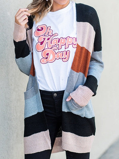 Multicolor Stripe Open Front Long Sleeve Women Knit Cardigan