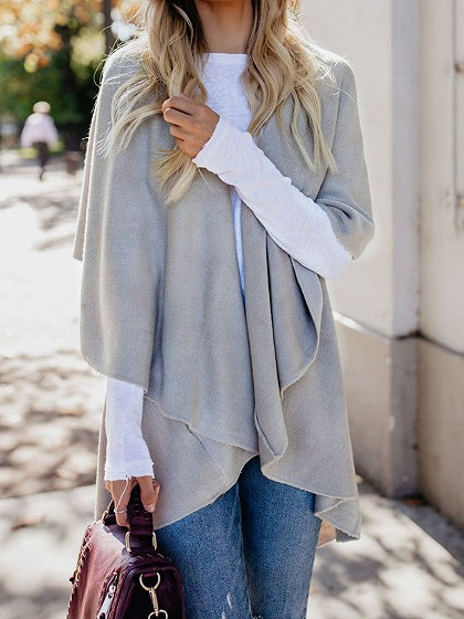 Gray Lapel Asymmetric Hem Women Knit Cardigan