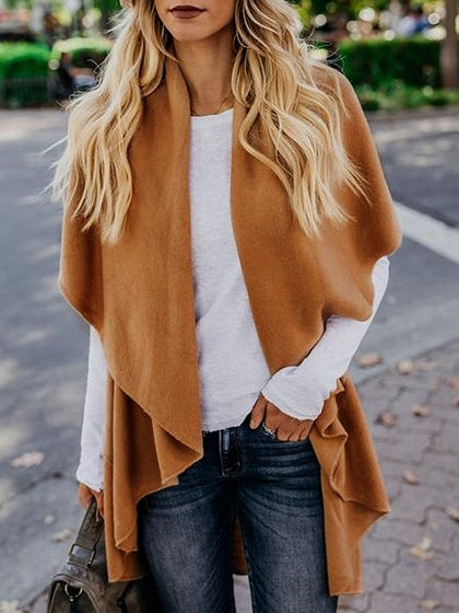 Khaki Lapel Asymmetric Hem Women Knit Cardigan