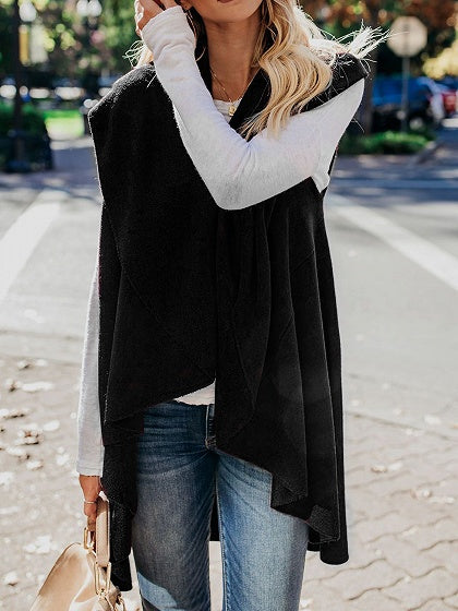 Black Lapel Asymmetric Hem Women Knit Cardigan