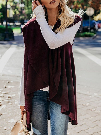 Burgundy Lapel Asymmetric Hem Women Knit Cardigan