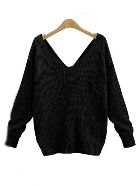 18c1171617f2a2 Show Gallery. V-neck Knot Twisted Back Long Sleeve Sweater · V-neck Knot  Twisted ...