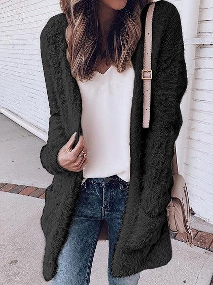 Black Open Front Pocket Detail Long Sleeve Women Fluffy Cardigan
