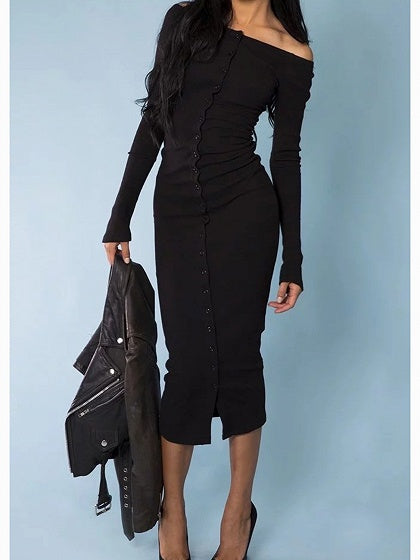 Black Ribbed Off Shoulder Button Placket Front Long Sleeve Midi Dress