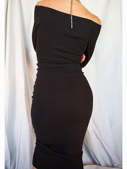3f1e76b0fd Black Ribbed Off Shoulder Button Placket Front Long Sleeve Midi Dress