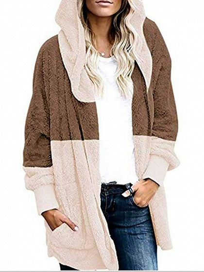 Khaki Contrast Open Front Long Sleeve Women Hooded Cardigan