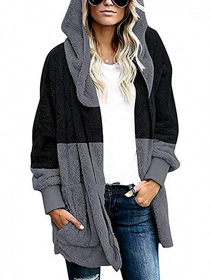 Black Contrast Open Front Long Sleeve Women Hooded Cardigan