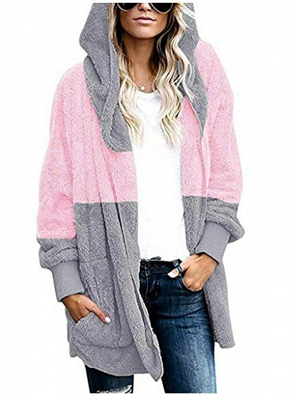 Pink Contrast Open Front Long Sleeve Women Hooded Cardigan