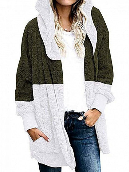 Green Contrast Open Front Long Sleeve Women Hooded Cardigan