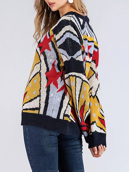 c1b6e0a0c61d Polychrome Geo Pattern Print Long Sleeve Women Sweater – MYNYstyle
