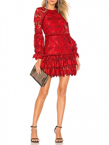 Red Floral Embroidery Puff Sleeve Women Lace Mini Dress